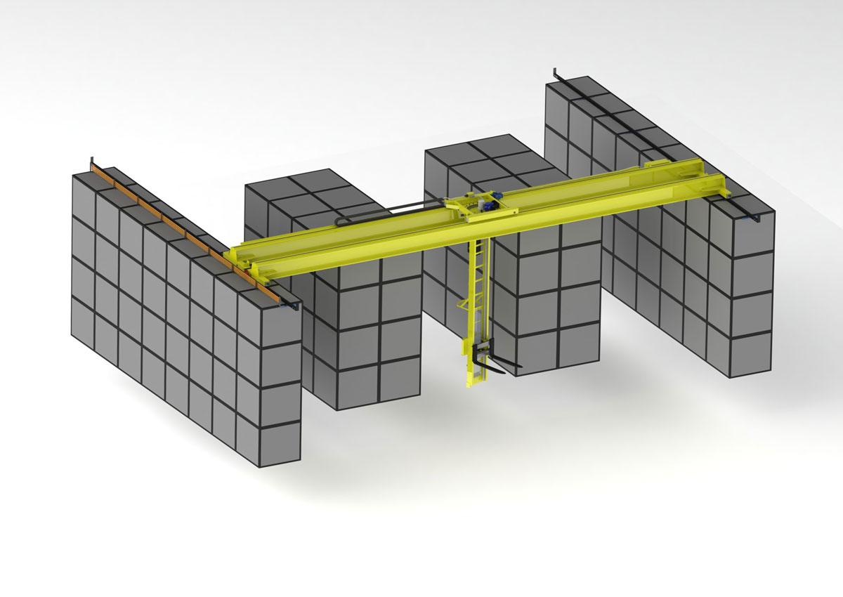 схема работы опорного мостового крана на складе