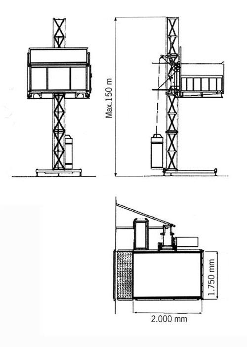размера мачтового платформенного подъёмника