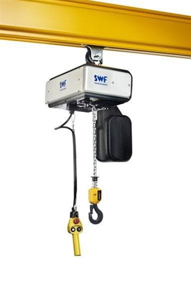 электроталь и подвесной пульт управления закрепленная в коробчатом мостовом профиле