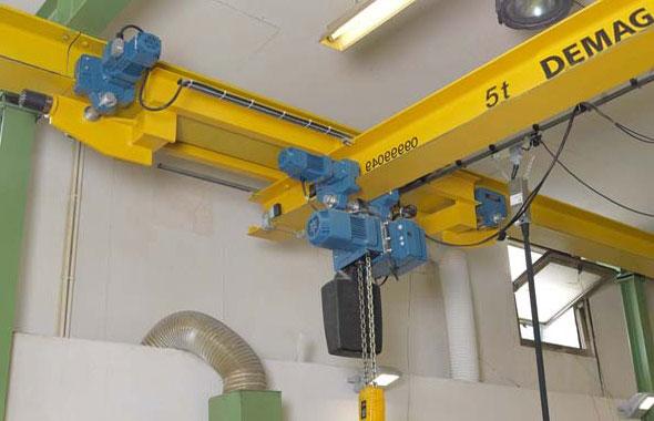двутавровый подвесной однобалочный электрический кран demag