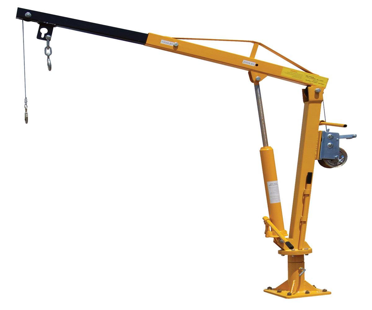 полноповоротный стационарный гидравлический кран с ручной подъемной лебедкой