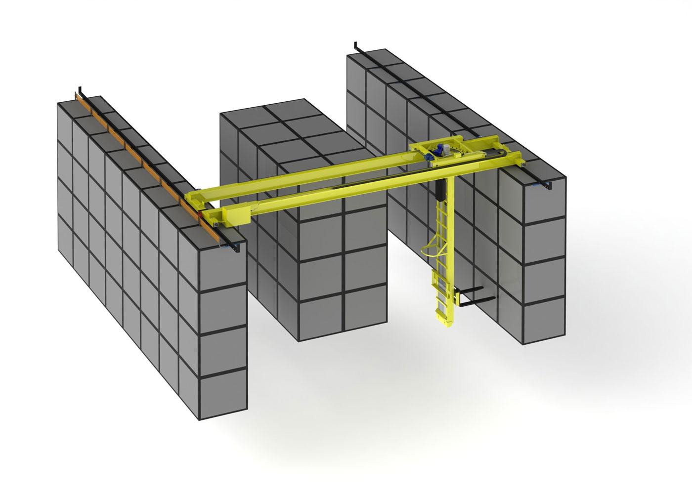 двухпролетный мостовой кран штабелёр